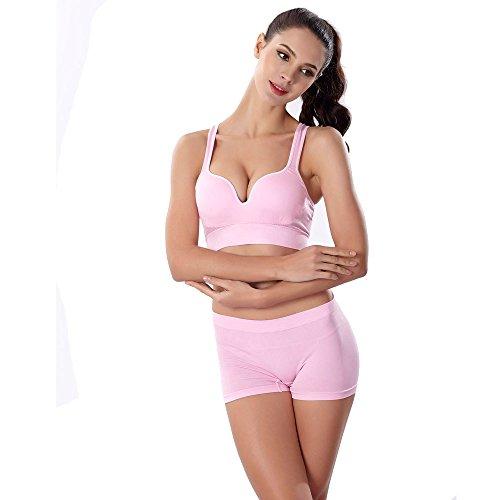 POIUDE Ausverkauf Damen Sport BH Bequem Frauen Bustier Push Up und Ohne Bügel Hochwertige Unterwäsche(Rosa, Small)