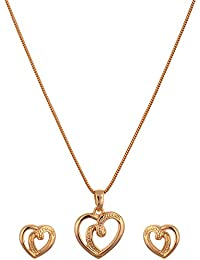 Estelle Small Heart Shaped Gold Plated Love Locket Pendant & Earring Necklace Jewellery Set In Long Neck Chain...