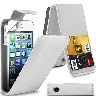 AIBULO Klappetui für Apple iPhone 5 / 5S / SE, PU-Leder, mit 2 Kartenfächern, Weiß