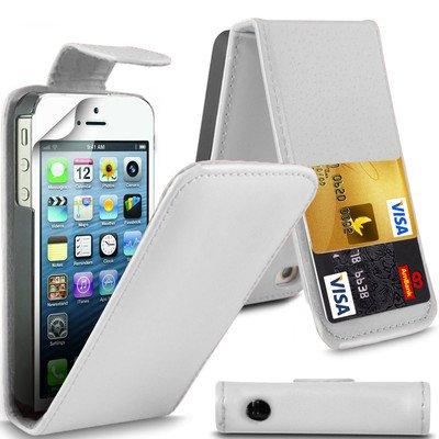 G4GADGET Étui à clapet imitation cuir pour iPhone 4 et 4S Noir blanc