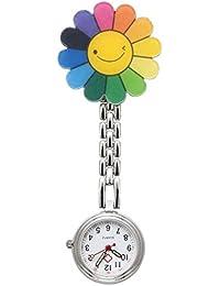Nurses Fashion Quartz Clip-on Fob Brooch Hanging Pocket Watches - Smile Flower