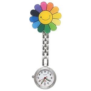 JSDDE Taschenuhr zum Anstecken, Blumenmotiv mit Smiley, farbig, Quarz