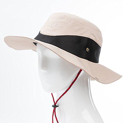 WYYY Chapeaux Hommes Visière Round Top Pliable Curling Protection Contre Le Soleil À L'extérieur Protection UV ( Couleur : Beige )