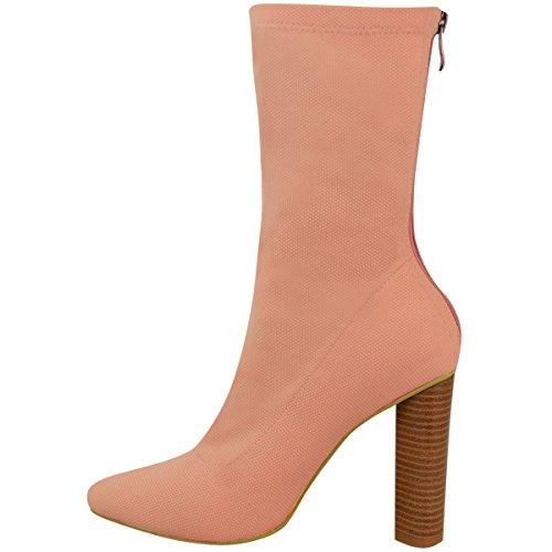 Donna A Maglia Stivali Caviglia Elasticizzato A Blocco Tacchi Alti Celebrità Scarpe Numeri Rosa Blush maglia