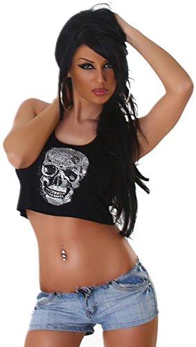 Voyelles t-shirt pour femme ventre nu-avec paillettes en forme de tête de mort Noir - Noir