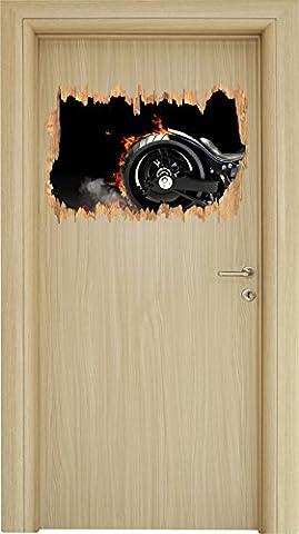 Dark Brennender Harley Reifen Holzdurchbruch im 3D-Look , Wand- oder Türaufkleber Format: 62x42cm, Wandsticker, Wandtattoo, Wanddekoration