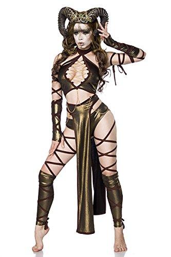 Satyr Hörner Kostüm - Sexy Succubus Kostüm Damenkostüm Teufel Monster Halloween Braun Karneval Hörner