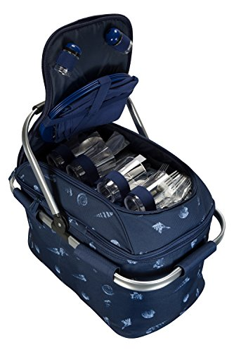 Mountain Warehouse 36L Picnic Hamper - Insulated Compartment Backpack, Aluminium Frame Picnic Set, Lightweight Lunch Box, Cutlery, Wine Glasses & More - For Camping Navy