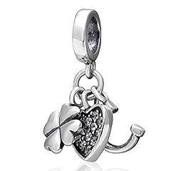 Idea Regalo - Ciondoli a forma di cuore, ferro di cavallo e trifoglio in argento sterling 925, ciondolo portafortuna