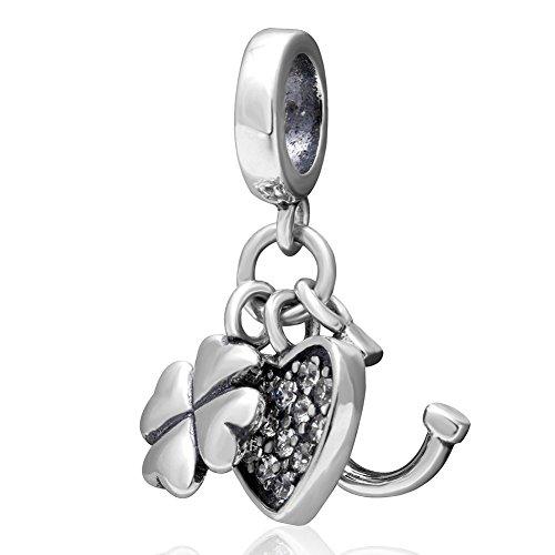 Ciondoli a forma di cuore, ferro di cavallo e trifoglio in argento sterling 925, ciondolo portafortuna