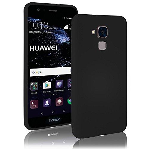 Movoja Huawei-Honor-5C Hülle Case | schwarz matt | Soft Touch TPU | Perfekter Schutz | Schutzhülle Matt Huawei Honor 5C Cover Huawei Honor-5C Schwarz