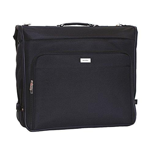 Karabar Kleidersack Anzughülle für bis zu 3 Anzüge Kleiderhülle - 1 Meter 57 Liter 1,95 kg - Kleidertasche mit verstellbarem Schultergurt und Mehreren Taschen, Potton Schwarz -
