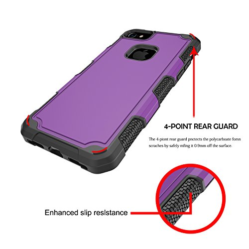 """iPhone 7 4.7"""" Dual Layer Case, VMAE Heavy Duty Hybrid Armor Defender Cover, Shock Resistant Protective Case with Hard PC & Soft TPU Back Cover for iPhone 7 4.7"""" (Purplish Blue) Purple"""