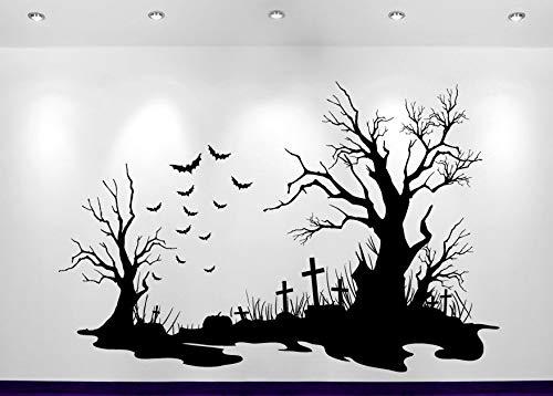 Halloween Friedhof Szene Aufkleber Heißer Verkauf Dekoration Wandaufkleber Sofa Hintergrund Dekor Adesivo De Parede Decals Poster 84x56 cm