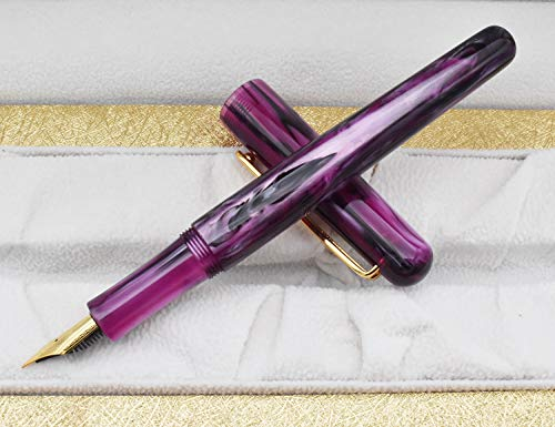 Picasso EtSandy Aurora 975 Estuche para estilográfica, Iridium Fina Pluma celuloide Vintage Plumas, Pluma de caligrafía, Plumas ejecutivas (púrpura)