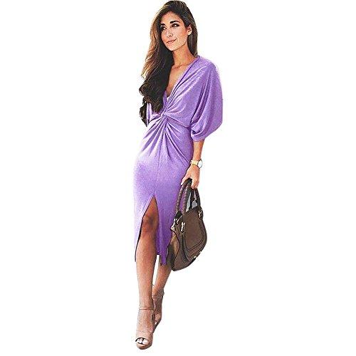 La Cabina Femme Sexy Mini Robe T-Shirt Col en V+ +Asymétrique Irrégulière Manches Court pour Soirée Cocktail Vie Quotidienne Violet