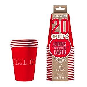 Original Cup - 20 x Vasos Américanos Papels Beer Pong 53cl - Juego para Beber - Rojo