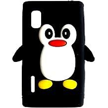 Tinkerbell Trinkets® Negro LG Optimus L5 E610 Pingüino lindo de silicona / piel / caja / cubierta / Shell / Protectores / Mobile / Teléfono / Smartphone / Accesorios animales.