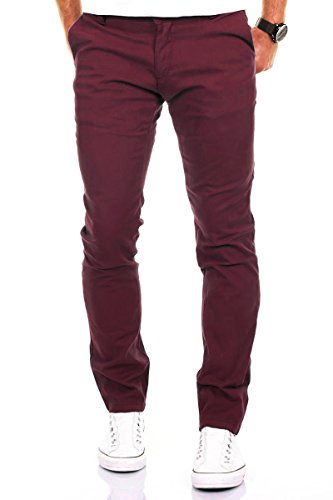 Merish Chino Stretch Slim-Fit Figurbetont Stoffhose Hose Jeans Modell 168 Bordeaux-Rot 29-32 (Herren Jeans 29x30)