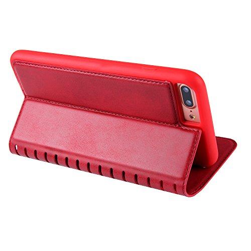 iPhone 7 Plus Hülle, BONROY® Premium PU Leder Schutzhülle für iPhone 7 Plus Flip Bookstyle Wallet Schale Weich TPU Silikon Back Cover Etui Skin Shell Handyhülle Mit Magnetverschluss und Standfunktion  Rot