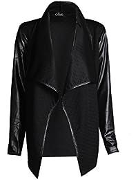 Fast Fashion – Haut Wetlook Plaine Matelassée Manches Longues Frontale La Cascade Ouvert Un Blazer - Femmes