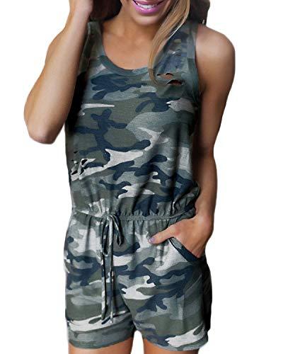 Auxo Damen Ärmellos V-Ausschnitt Sommer Strand Camoflauge Party Jumpsuit Overalls Kurz Hosen Camouflage Etikettgröße S -