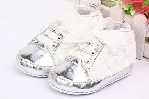 Yue Lian Baby Mädchen Schuhe Lauflernschuhe Spitze Rose PU-Leder Weiß