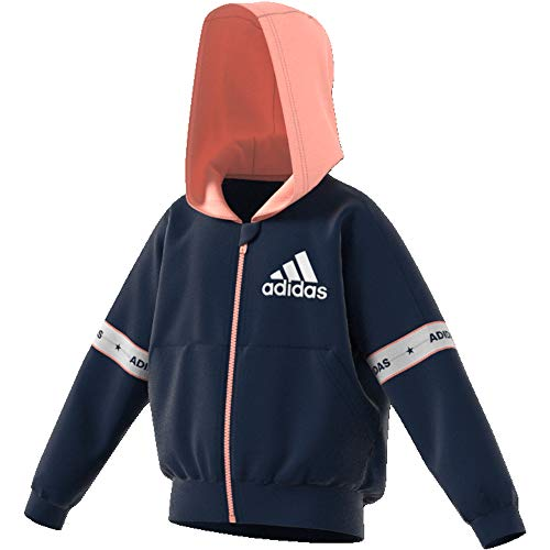 adidas Hooded Track TOP (8-9, Navy) Hooded Track Top
