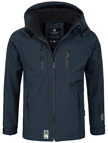 Marikoo Herren Softshell Funktions Outdoor Ski Regen Winter Jacke Sport B630 [B630-Noa-Navy-Gr.XL]