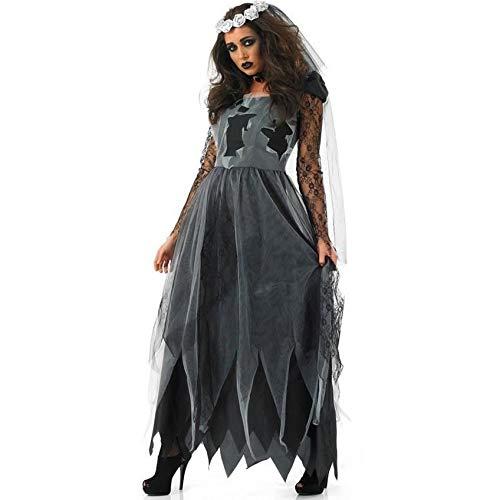 Kostüm Sensenmann Weiblichen - NCY Halloween Cosplay Schwarze Hexe Zombie Teufel Vampir Braut Sensenmann Kostüm Damen Komplettes Outfit,M