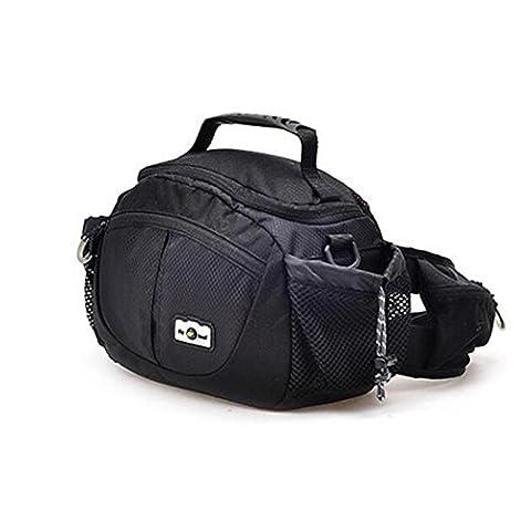 SLR Camera Bag Nylon Imperméable à l'eau Multifonctionnel Pocket Outdoor Equitation Randonnée Voyage Sac à bandoulière Messenger Bag Sac à bandoulière pour Canon Nikon H23 x L26 x T16 CM , Black