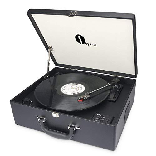 1byone Platine Vinyle Transportable, Tourne Disque 3 Vitesses avec Enceintes Interne, Wireless intégré Prise USB pour MP3, Noire