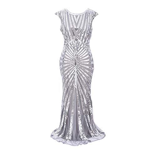 (Luckycat Frauen Jahrgang 1920 Perlen Fransen Pailletten verziert Partykleider Flapper Kleider Abendkleider Schwingenkleid Cocktailkleid Blusenkleid)