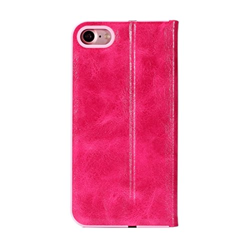 Wkae Crystal Texture PC Full Coverage Horizontale Flip Leder Tasche mit Halter & Card Slots für iPhone iPhone 7 ( Color : Black ) Magenta