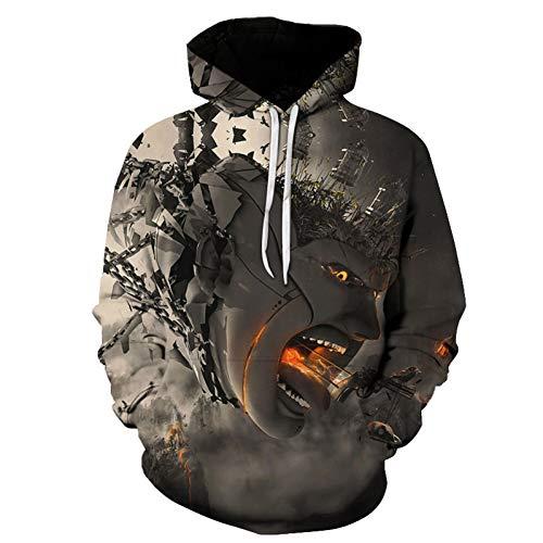 HEYDD Männer Hoodies Plus Größe Roboter 3D-Druckmuster Sweatshirts Cute Animal Casual Style,L