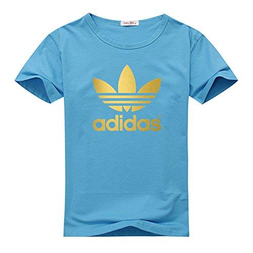 Klein CO Adidas Gold Logo Men's Short Sleeve T-Shirt Sky Blue