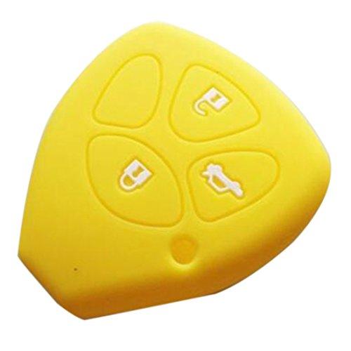 Sac à clés ensemble triples liaisons en silicone pour Toyota voiture-Jaune