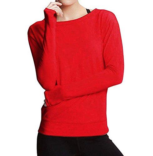 Ghope Damen Herbst Langarm Shirt Tops Rückenfrei Bluse Party Club Sweater T-Shirt Hemd Oberteile Casual Rot