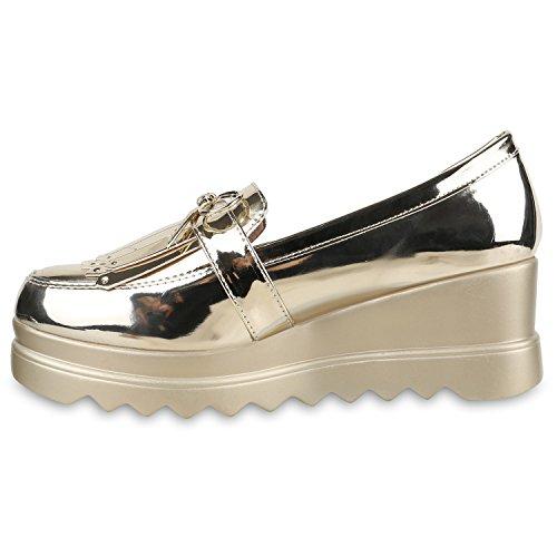 Funky Damen Slipper Lack Schuhe Profilsohle Plateau Loafers Lack Gold Lack  Fransen ...