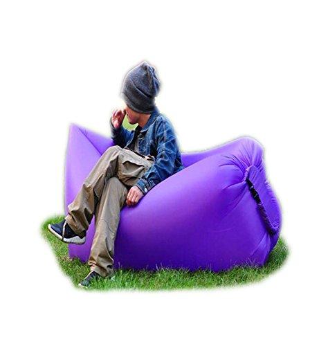 Haehne Portable Lazy Lounger Schlafsack, Outdoor Indoor Air Schlafsofa Luftmatratzen Couch Bett, Nylon Wasserdicht zusammenklappbar, Sitzsack für Lounging, Sommer Camping, Strand, Angeln (Violett)