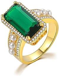Stacie# Anillo geométrico Grande de Piedras Preciosas para Mujer con Piedra Verde Dorada