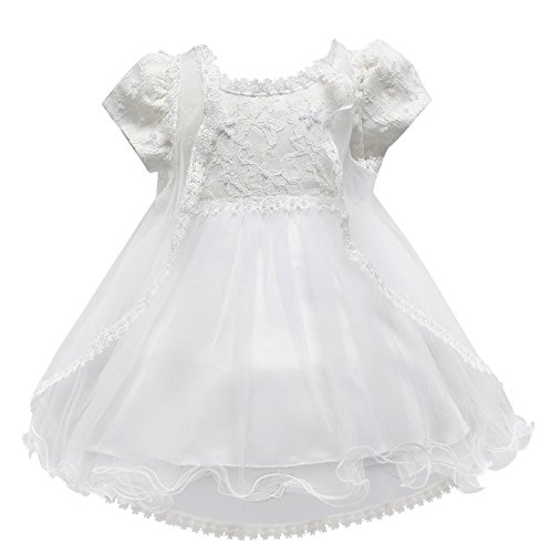 (HAPPY CHERRY Baby Mädchen Taufkleidung Hochzeitkleid Festzug Prinzessin Kleid Partykleid Blumenmädchenkleid Geburtstagfeier Multi Layer Tüll Kleid)