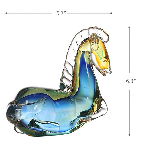 Foanwm Skulptur Blue Horse Glass Skulptur Home Decor Tier Ornament Geschenk Handwerk Dekoration -