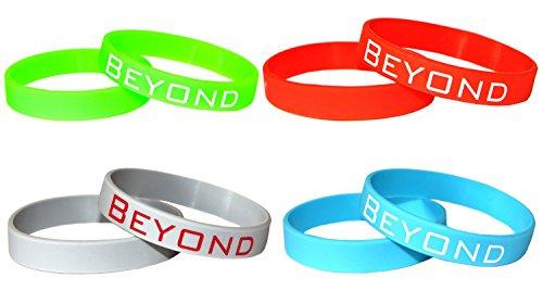 4 Neon Silikon Fitness Armbänder Beyond Dreams | Power Silikonarmbänder |Silikonarmband mit Text Gravur Schrift
