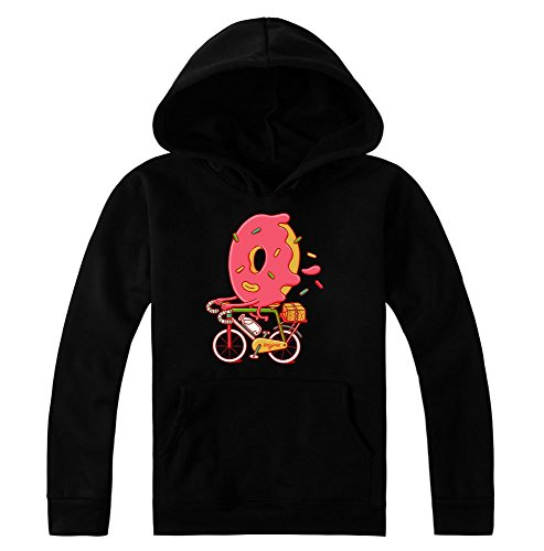 Sweet Donut Riding A Bicycle Artwork Kapuzenpulli für Damen Small