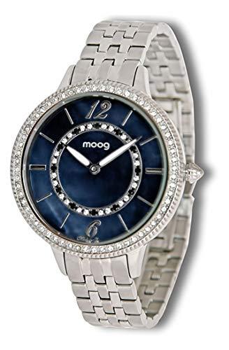 Moog Paris Pearl Montre Femme avec Cadran Nacre Noir, Eléments Swarovski, Bracelet Argenté en Acier Inoxydable - M45674-004