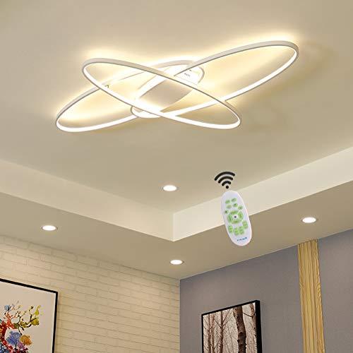 Wohnzimmerlampe LED Deckenleuchte Modern Chic Oval Decke Dimmbar Deckenlampe, Schlafzimmerlampe mit Fernbedienung Acryl Lampenschirm Design Lampen für Esszimmerlampe Bürolampe Küchelampe Deko (Weiß)