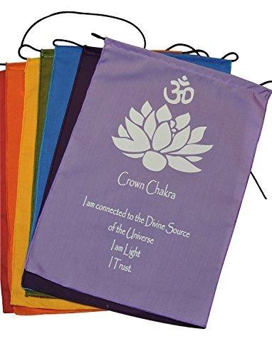 Mains de Tibet wayan jirna Shop Sept drapeaux de prière Chakra bannière Suspension Murale, S