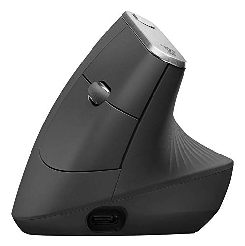 Logitech MX Vertical, Wire and Wireless Bluetooth Advanced Ergonomic Mouse, Less Muscular Strain, Natural Handshake Position, Improved Wrist Posture, Advanced Optical Tracking, Black Bluetooth Wire
