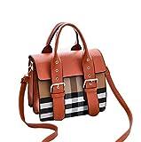JUND Vintage Handtaschen 2018 Herbst Wild Umhänge Messenger Bag Classic Kariert Leder Frauentasche